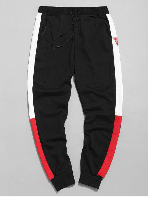 hot Color Block Applique Jogger Pants - BLACK XL Mobile