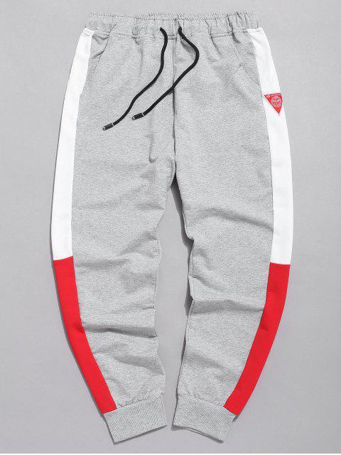 outfits Color Block Applique Jogger Pants - GRAY L Mobile
