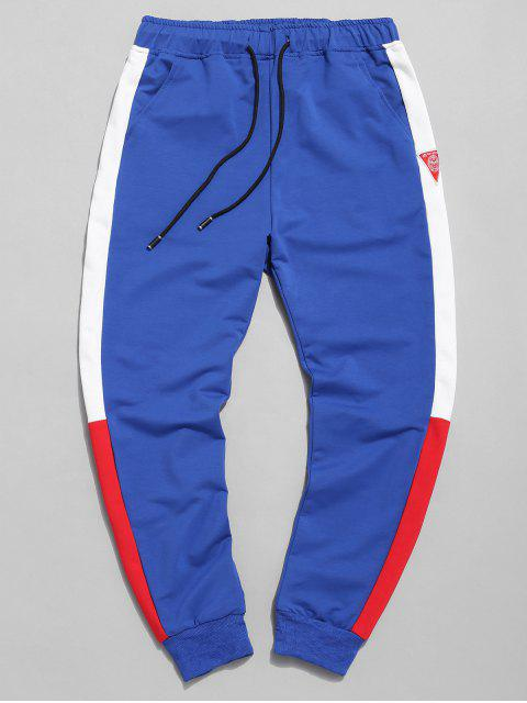 trendy Color Block Applique Jogger Pants - BLUE XL Mobile