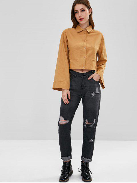 Zip Fly Straight Leg Ripped Jeans - Gris Carbón L Mobile