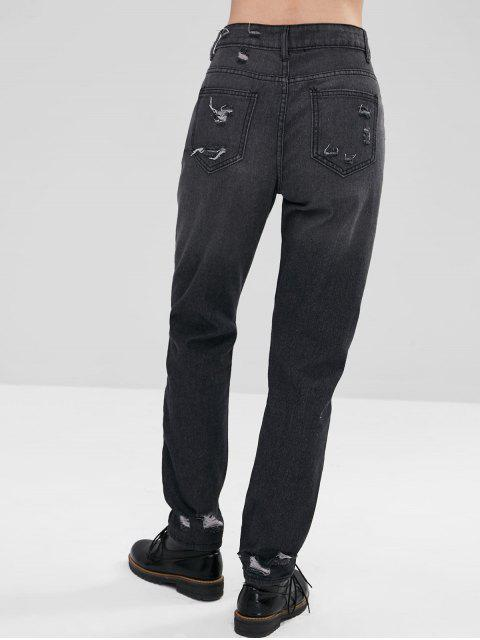 Zip Fly Straight Leg Ripped Jeans - Gris Carbón XL Mobile