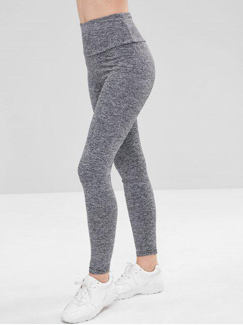 affordable Space Dye Ruched High Waisted Leggings - GRAY S Mobile