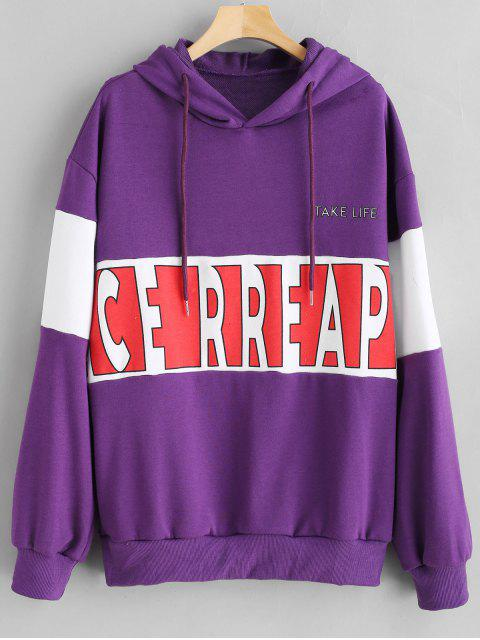 chic Color Block Graphic Oversized Hoodie - PURPLE IRIS ONE SIZE Mobile