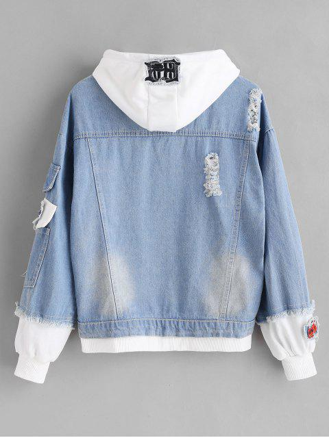 shops Distressed Hooded Denim Jacket - DENIM BLUE M Mobile