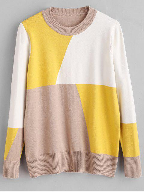 online Crew Neck Patchwork Sweater - MULTI ONE SIZE Mobile