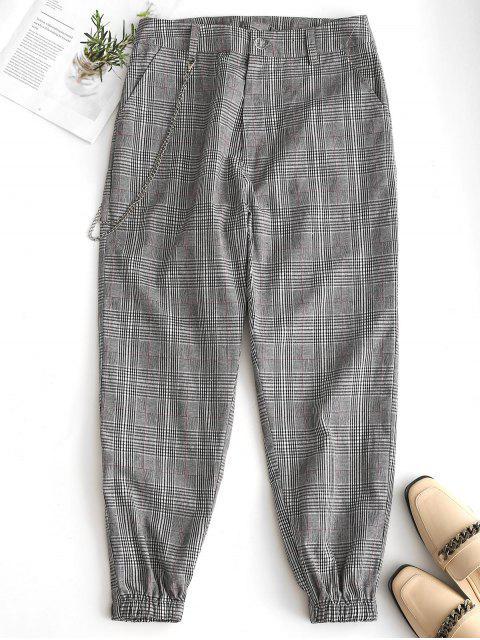 Pantalones de jogging en cuadros con adornos de cadena - Negro S Mobile