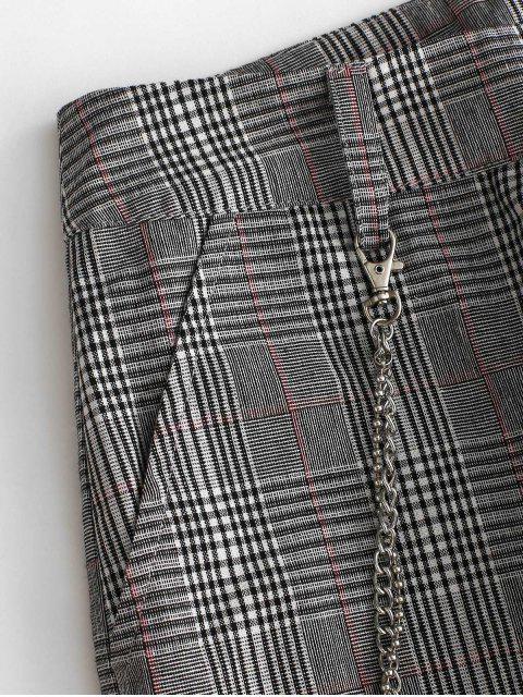 チェーン装飾チェック柄ジョガーパンツ - ブラック L Mobile