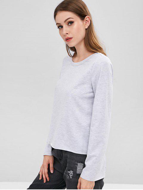 hot ZAFUL Bell Sleeve Open Back T-shirt - LIGHT GRAY L Mobile