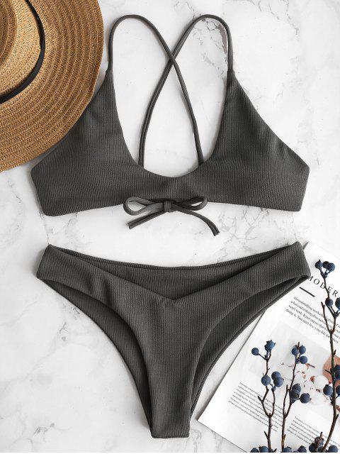 sale ZAFUL Ribbed Criss Cross Bikini Set - GRAY CLOUD L Mobile