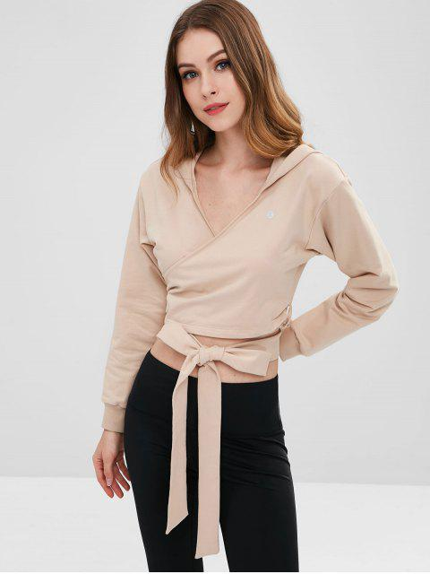 ZAFUL Drop Shoulder Wrap Hoodie - Caqui Claro L Mobile