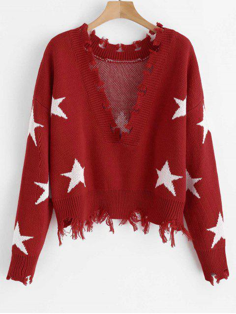 buy ZAFUL Cropped Frayed Stars Sweater - RED ONE SIZE Mobile