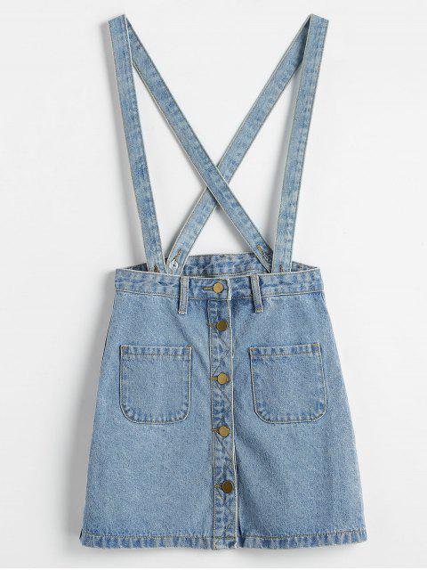Button Up Jean Suspender Skirt - Azul Claro S Mobile