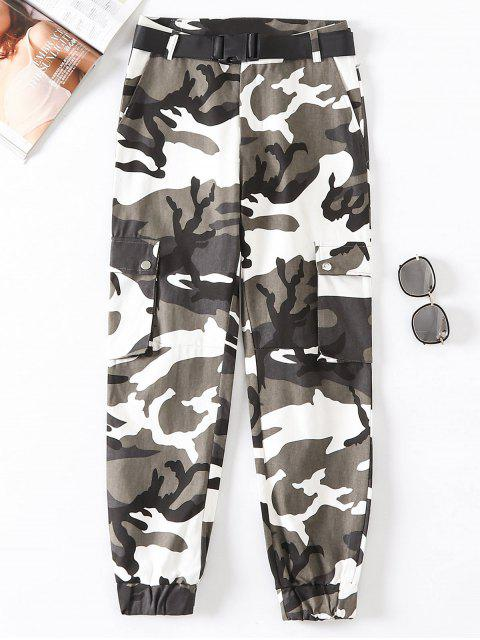 Flap Pockets Camouflage Jogger Pants - Multicolor-B L Mobile