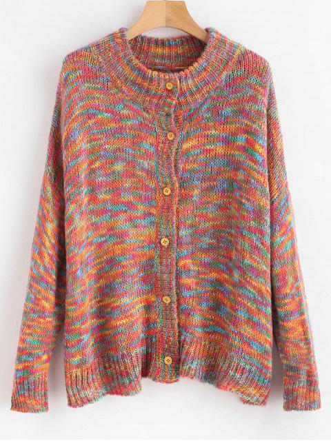 latest Colored Button Up Space Dye Cardigan - MULTI L Mobile