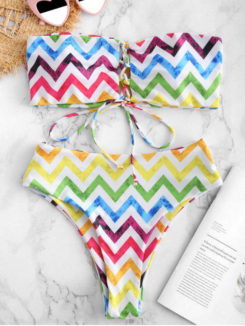 affordable ZAFUL Lace Up Colorful Zigzag Bandeau Bikini Set - MULTI-A S Mobile