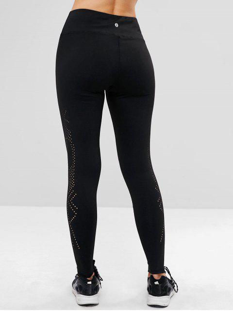 Calzas perforadas de talle alto de entrenamiento - Negro M Mobile