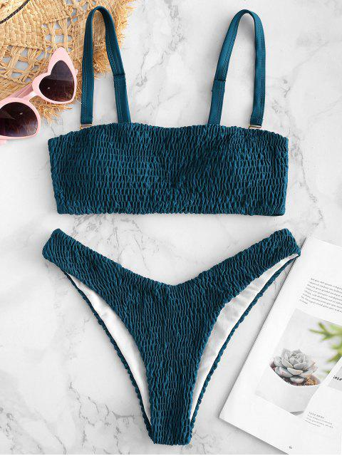 ZAFUL Ensemble De Bikini Bandeau Smocké - Bleu canard S Mobile