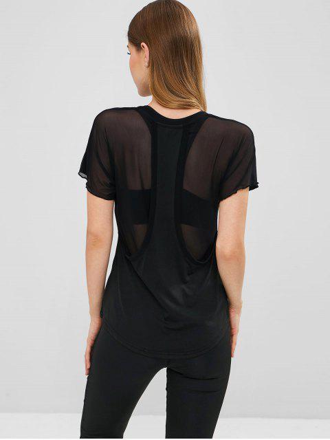shop Sheer Back Mesh Panel Sports Tee - BLACK L Mobile