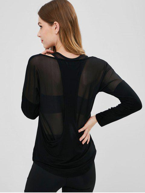 hot Mesh Panel Racerback Sports Tee - BLACK L Mobile