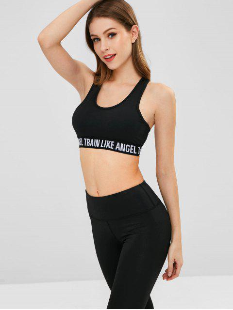 outfits Mesh Panel Letter Sports Bra - BLACK XL Mobile
