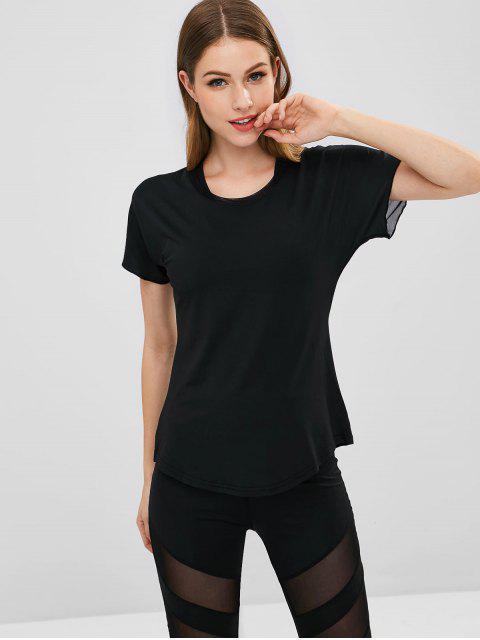 Schiere zurück Mesh Panel Sport T-Shirt - Schwarz S Mobile