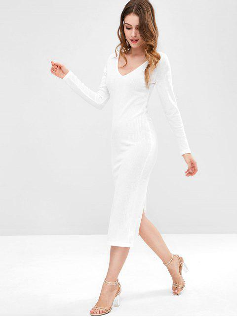 lady Plunging Neck Back Split Bodycon Dress - WHITE L Mobile