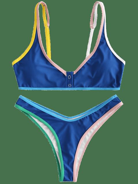 shops ZAFUL Contrast Trim Bralette Bikini Set - BLUE EYES L Mobile