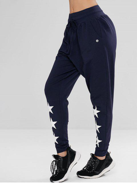 fancy ZAFUL Drawstring Star High Waisted Pants - CADETBLUE S Mobile