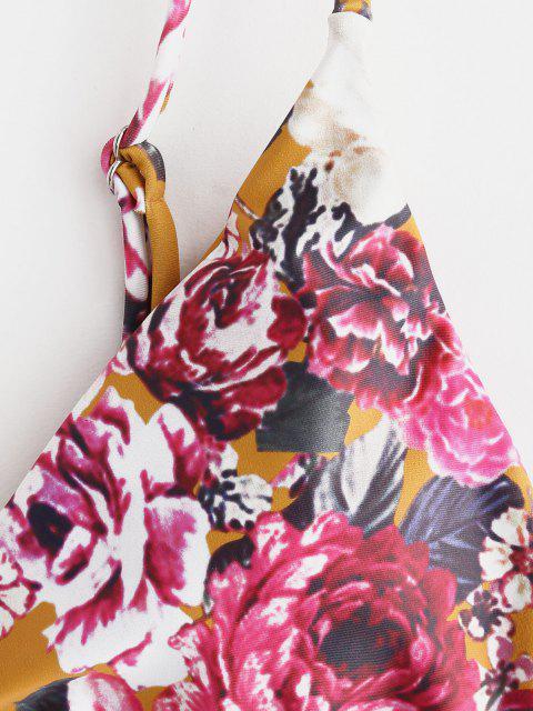 lady ZAFUL Floral High Leg Bikini Set - SCHOOL BUS YELLOW L Mobile