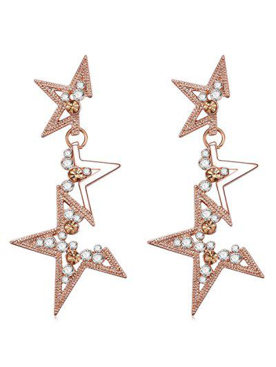 Rhinestone Star Design Drop Earrings - Rose Gold