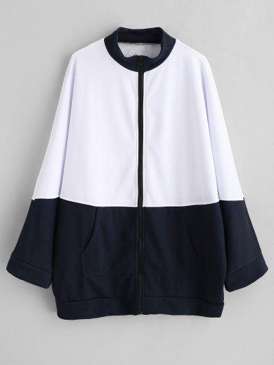 Sweat-shirt En Deux Couleurs Zippé Surdimensionné - Blanc