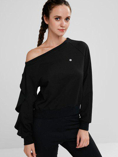 ZAFUL Ruffle Skew Neck Sweatshirt - Black M