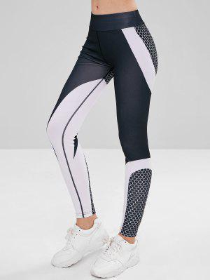 Elastische Taille Farbblock Sport Leggings