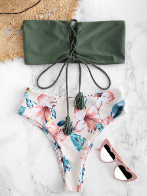 5d462d7859 ZAFUL Flower Lace Up Bralette Bikini Set - Camouflage Green S