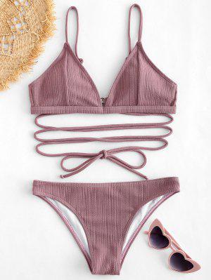 ZAFUL Tie Ribbed Bikini Set - Wisteria Purple M