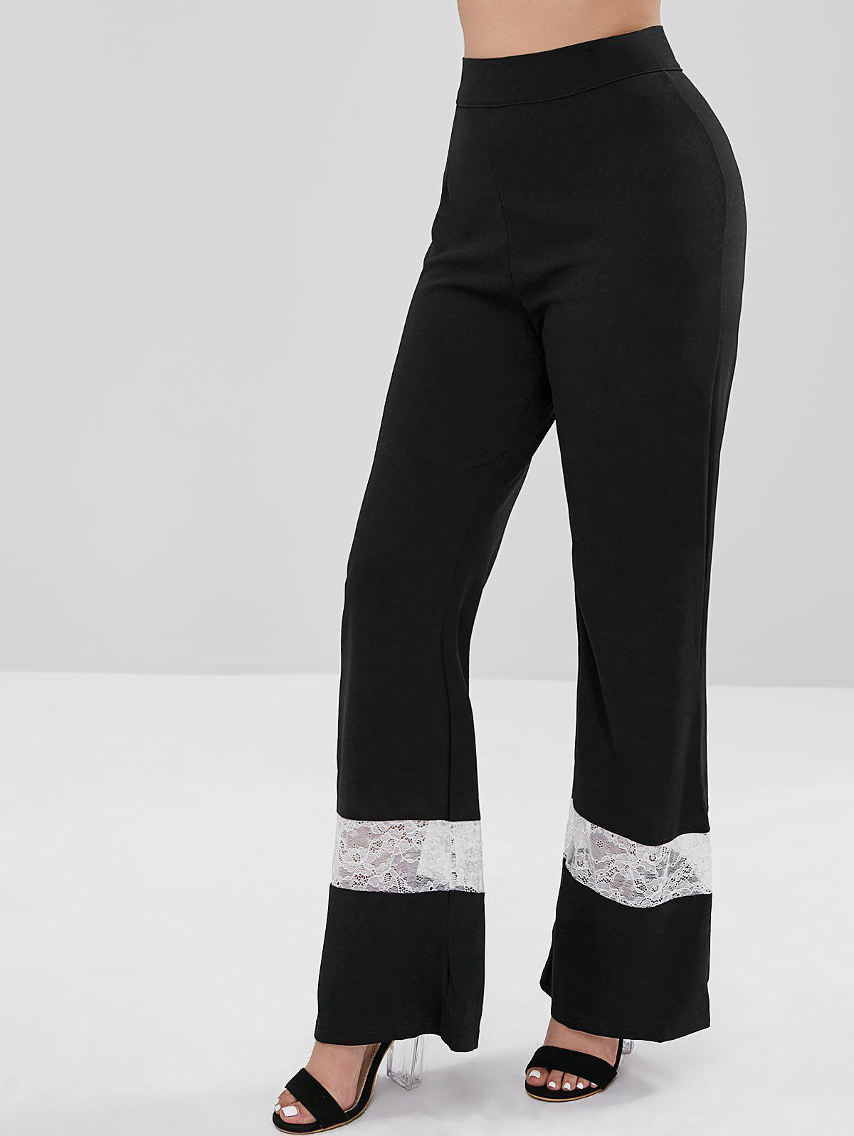 Back Zip Lace Panel Wide Leg Pants