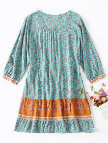 Y M Vestido Con Abotonado Estampado Cord 243;n Guacamayo Azul Floral Verde Zgpg6q