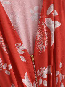 La Pierna Pliegues Cremallera Con Media En A S Vestido Con Parte Frijol Rojo Delantera YxHRqn