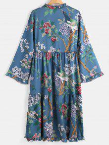 Vestido De Con Multicolor Alto Cuello Flores Estampado De De Larga S Manga Sxa0vSnqr