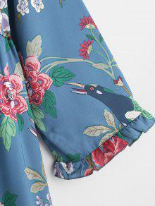 Larga De Estampado Alto S Multicolor Manga Vestido Cuello De De Con Flores Xw7SwqE4