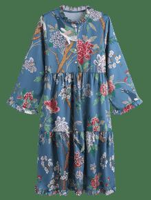 S Cuello De Larga De Con Vestido Multicolor Flores De Estampado Manga Alto APWqWUX84