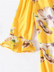 Vestido Estampado Y T L Con Con Floral Volantes 233; Amarillo De Lazo aqa7AxZwf
