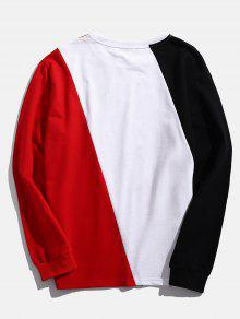 Sweatshirt S Multicolor Letter Patchwork Color Block qn7tff