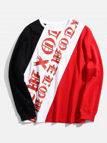 S Multicolor Block Patchwork Color Letter Sweatshirt 8wvq8XC