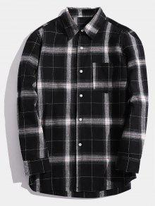 جيب الصدر الصدر عادية القميص - أسود Xs