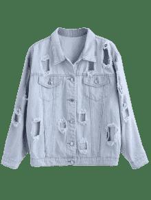 Jeans De Chaqueta Desgarrada Azul L Jean Tqna46C