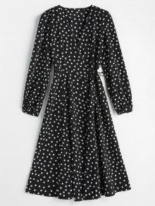 لف فستان البولكا دوت - أسود M