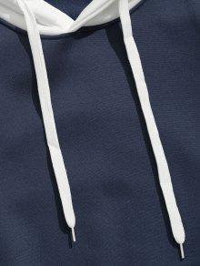 Con Contraste Sudadera M Fleece Stripe En Profundo Capucha Azul w1wdqtF