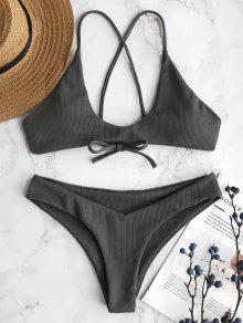 ZAFUL Ribbed Criss Cross Bikini Set - سحابة رمادية L