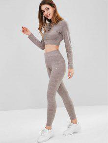 ZAFUL Heather Criss Cross Sports Set - صوان L